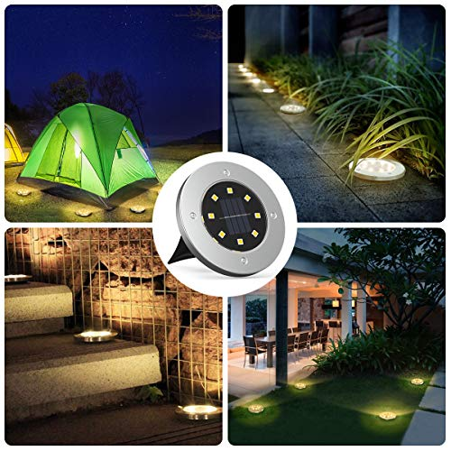 MAPLEZ Solar Ground Light 8 LED Solar Outdoor Lights Disk Light Waterproof for Garden Yard Patio Pathway Lawn Driveway Walkway 8 Packs Warm White