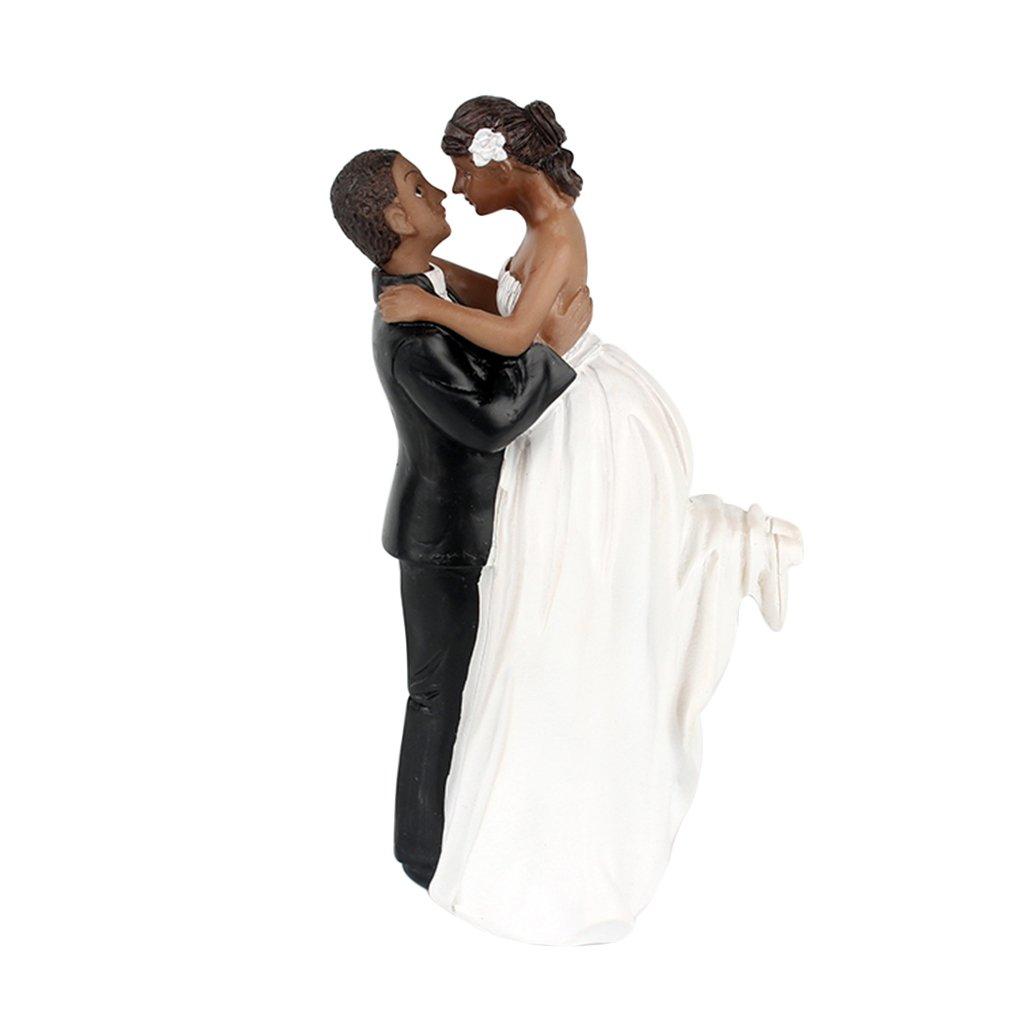 Jinzuke Romantique Noir Groom Bride Marry R/ésine Figurine g/âteau de Mariage Topper D/écoration de Mariage