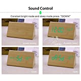 Dual power Multi-function Wooden LED Alarm Clock with Temperature display ,Triple intelligent alarm, Sound-control screen (Bamboo)