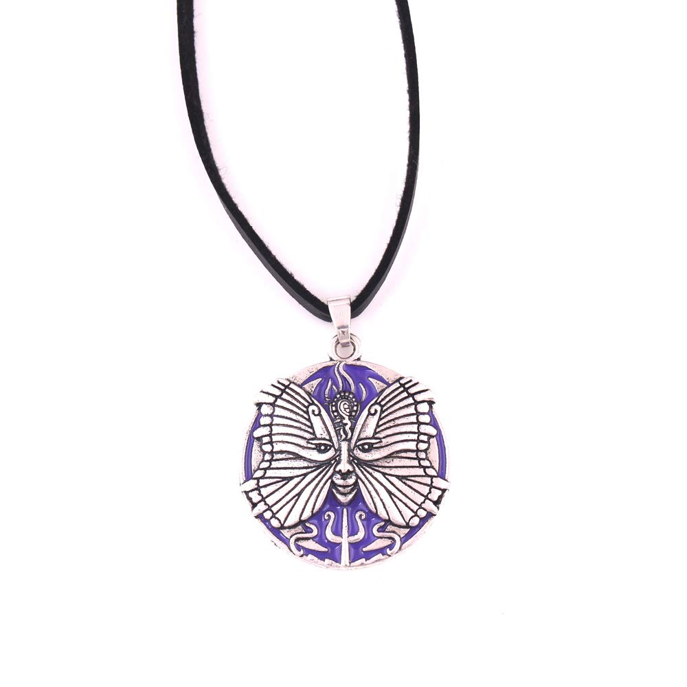 FAIRY ELVEN Psyche Goddess Pendant Braided Rope Chain Antique Silver Plated Men and Women Butterfly Soul Neptune Amulet