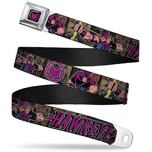 (Buckle-Down Seatbelt Belt - Retro HAWKEYE Action Poses/Logo Comic Scenes/Purple - 1.5