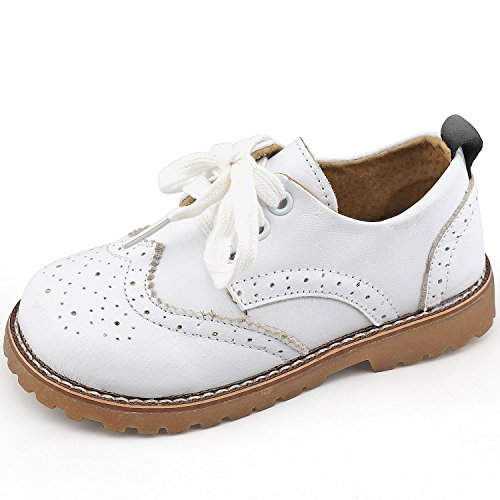 CCTWINS KIDS Toddler Little Kid Girl Boy Dress Oxford Leather Shoe(G9771-white-30)