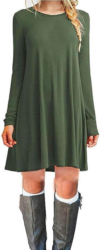 TALLA M. loveryoyo Mujer Suelto Casual Mini Camiseta Camiseta Vestido Armee-grün-Langarm M Armee-grün-langarm