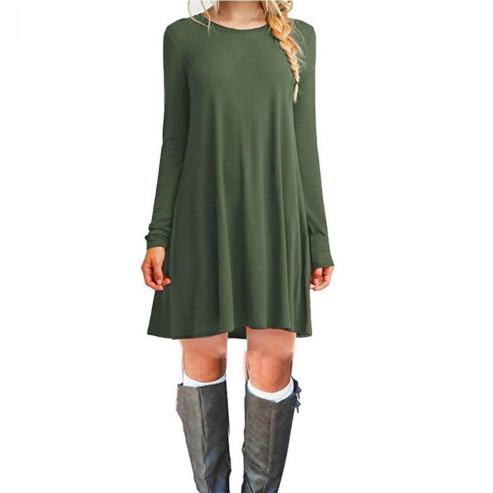 TALLA L. ZNYSTAR Mujer de Camiseta Suelto Casual Cuello Redondo Mini Vestidos Armee-grün-langarm L