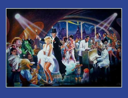 Millennium Night Cafe II 2 by Serdar Hizi 29.25x19.25 Art Print Poster Movie Stars at Bar Tommy Lee Jones, Will Smith, William Shatner, Marilyn Monroe, Fred Astaire, John Travolta, Humphrey Bogart,