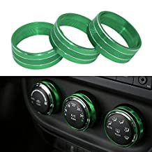 Danti 3pcs Audio Air Conditioning Button Cover Decoration Twist Switch Ring Trim for Jeep Wrangler JK JKU Compass Patriot 2011-2016 (Green)