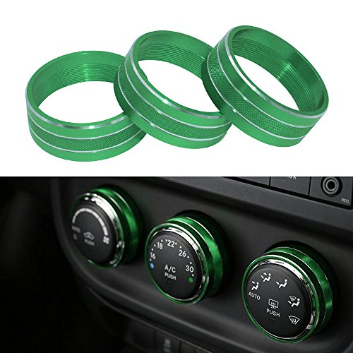 Danti 3pcs Audio Air Conditioning Button Cover Decoration Twist Switch Ring Trim for Jeep Wrangler JK JKU Patriot Liberty 2011-2018 Dodge Challenger 2008-2014 (Green)