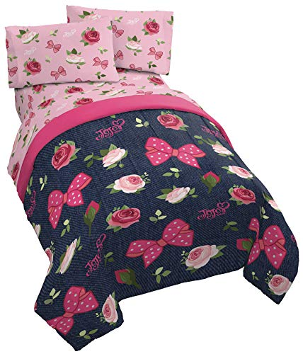 Jay Franco Nickelodeon JoJo Siwa Roses & Bows 4 Piece Twin Bed Set - Includes Reversible Comforter & Sheet Set - Super Soft Fade Resistant Polyester - (Official Nickelodeon Product) (Bow Comfy)