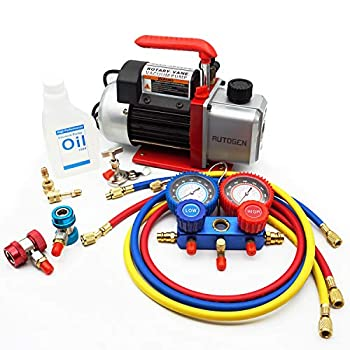 Image of Air Conditioning Line Repair Tools AUTOGEN Portable 4CFM 1/3HP Air Vacuum Pump, HVAC R134a R12 R22 R502 A/C Refrigeration Kit AC Manifold Gauge Set Kit, Perfect for AUTO & Home Air Conditioning Units
