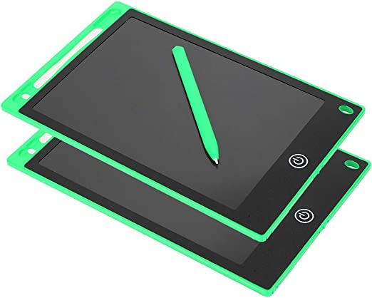 子供用ライティングパッド、カラフルで明るいポータブル描画ボード、8.5インチの電子フィギュア2ピース(学校、家族、オフィス、車用)(green)