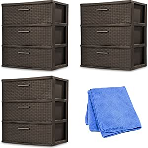 Sterilite 25306P01 3 Drawer Wide Weave Tower, Espresso Frame & Drawers w/ Driftwood Handles, 3-Pack with Cloth Cleaner