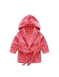 ZEAMO Baby Solid Hooded Bathrobe Fleece Sleep Robe