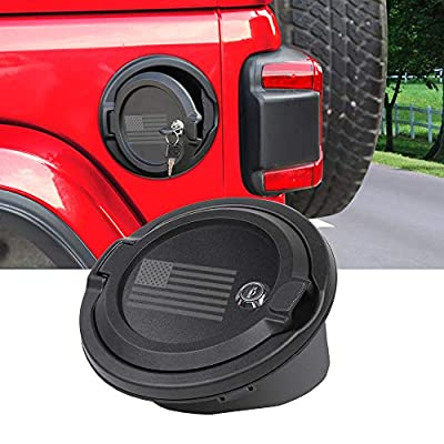 JeCar Fuel Filler Cover Locking Gas Tank Door Aluminum Alloy Gas Cap Cover Exterior Accessories for 2020 2020 2020 Jeep Wrangler JL JLU & 2020 Jeep Gladiator JT, US Flag: Automotive