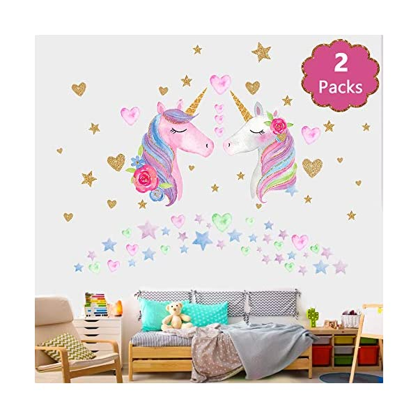 SONG'S IDEA Large Size Unicorn Wall Decal,2Packs,Unicorn Wall Sticker Decor with Hearts and Stars for Girls Rooms Baby… 4