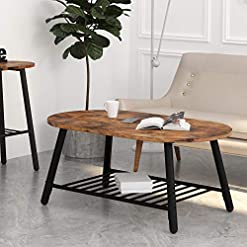 Farmhouse Coffee Tables IRONCK Industrial Oval Coffee Tables for Living Room, 2-Tier Tea Table with Storage Shelf, Easy Assembly, Rustic Home… farmhouse coffee tables