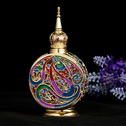 Enameled Perfume Bottle - H&D HYALINE & DORA Vintage 18ml Empty Refillable Egyptian Style Enameled Metal and Glass Perfume Bottle