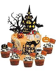 Halloween Cupcake Toppers, set van 15 stuks Halloween Cake Toppers Haunted House Cupcake Topper Halloween Cake Decoratie Ghost Cake Decor Pompoen Cupcake Decoratie voor Tovenaar Party Spider Party