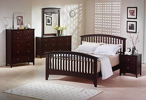 Esofastore 4piece Queen Size Bed Merlot Finish Transitional Framed HB FB Bedroom Furniture Dresser Mirror Nightstand