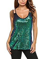 Dark Green Sleeveless Sequin Tank Top
