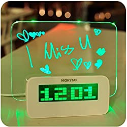 Alarm Clock Fluorescent Message Board Digital Calendar Thermometer Fluorescent Light (Green)