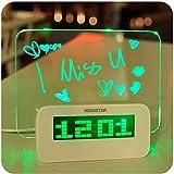 Alarm Clock Fluorescent Message Board Digital Calendar Thermometer Fluorescent Light (Green)