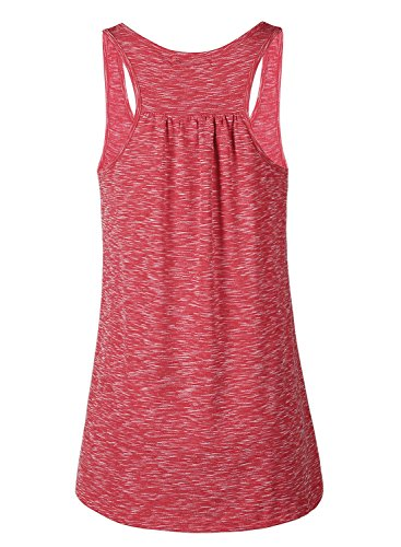Women Tank Tops Soft Cotton Racerback Workout Loose Fit Plus Size Vest for Yoga Jogging Running (Red, L)