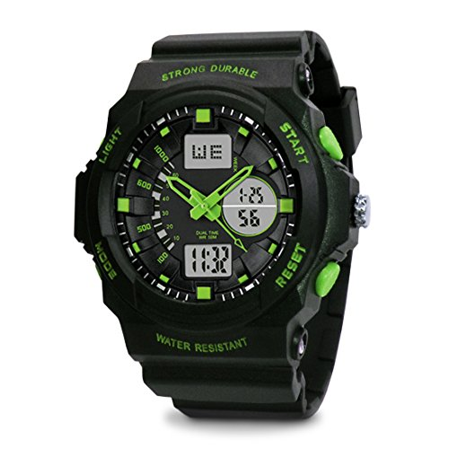 TOPCABIN Chronograph-50m Waterproof Digital-analog Children Sport Watch with Alarm Stopwatch Light Green
