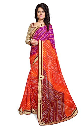 Mirchi Fashion Women Pink Orange Faux Georgette Bandhani Bandhej Printed Saree
