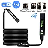 Photo : Inspection Camera, iksee WiFi Endoscope Snake Camera, 1200P HD Waterproof Borescope Camera with 8 LED Lights for iPhone, Android, Tablet, Windows & Mac OS Computer -16.4 ft(5M)