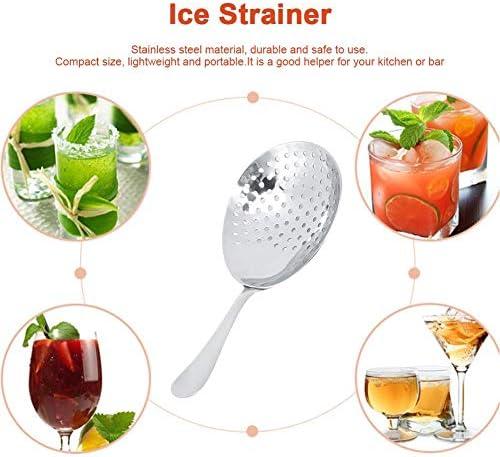 Eissieb, Edelstahl-Cocktail-Sieb, Edelstahl-Eislöffel-Sieb Filter Küchenbar Zubehör Silber
