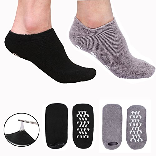 EXPER Moisturizing Gel Spa Humectant Moisturizer Socks for Men's Large Feet Size 10-12 Dry Hard Broken Rough Skin Cracked Heel Silicone Heel Socks (Black + Grey) -