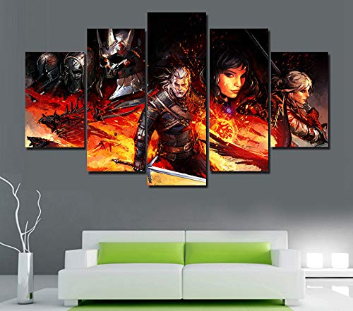 NATVVA Large HD Poster Witcher 3 Comics Oil Paintings on Canvas Framed 5 Pcs Wall Pictures for Living Room Wall Art Modular Pictures
