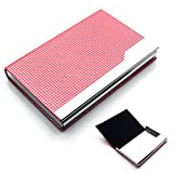 Rerii Business Card Holder Leather Surface Stainless Steel Business Card Case Name Card Holder (H - Red)