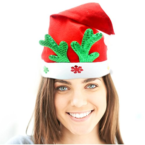 St Nicholas Children's Costume (Santa Hat - 4 Pack - Red & White With Green Reindeer Antlers Design - Wear At A Christmas Party - Santa Claus Costume Accessory - Celebrate Xmas With Family & Friends)