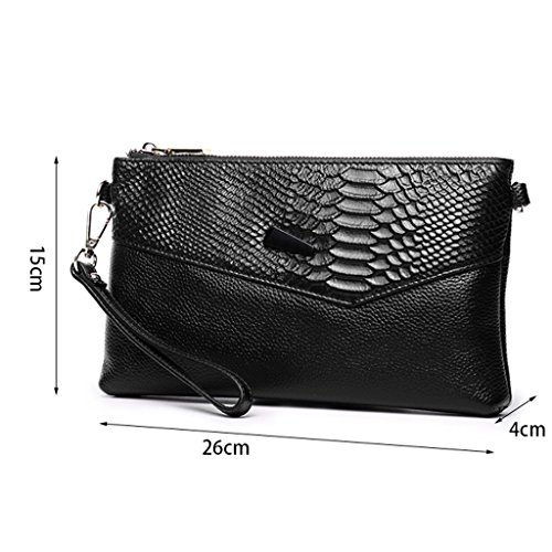 The Messenger Clutch Fashion Bag DEI Capacity Clutch Bag Ms Korean Bag Bag Of Black Leather Cowhide Small Color Capacity Bag Large Large QI Hand First Leather Black Layer RaavUqIr