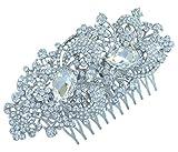 Sindary 4.33'' Silver Tone Bridal Flower Hair Comb Clear Rhinestone Crystal Wedding Headpiece HZ4238