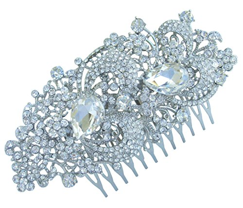 Sindary 4.33'' Silver Tone Bridal Flower Hair Comb Clear Rhinestone Crystal Wedding Headpiece HZ4238 by Wedding Hair Accessories-Sindary Jewelry