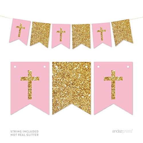 Andaz Press Gold Glitter Print Hanging Pennant Party Banner with String, Girl Baptism Pink and Gold Glitter Crosses, 9-Feet, 1-Set, Decor Paper Decorations, Not Real Glitter, Includes String