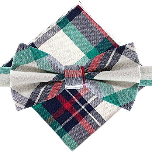 Bowtie & Pocket Square - Green & Red Plaid