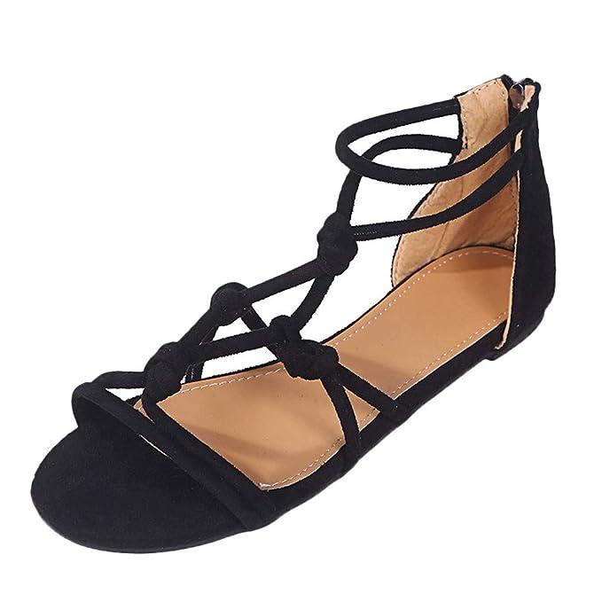 9ec4a0af04440 Women's Flat Beach Sandals Ladies Summer Big Size Roman Shoes Casual ...