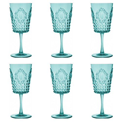Baci Milano Baroque & Rock Acrylic Six (6)-Piece 13 oz Aqua Wine Goblet Set