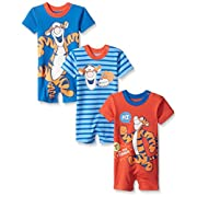 Disney Baby Tigger Rompers, Blue, 6-9 Months (Pack of 3)