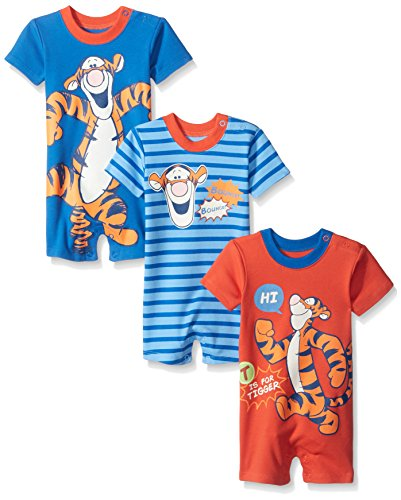 Disney Baby Tigger Rompers, Blue, 9 Months (Pack of 3) (Baby Tigger)
