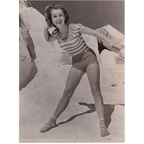 Debbie Reynolds 8 Inch x 10 Inch PHOTOGRAPH Singin' in the Rain Fear and Loathing in Las Vegas Charlotte's Web B&W in Striped Beach Attire kn (Fear And Loathing In Las Vegas Pics)