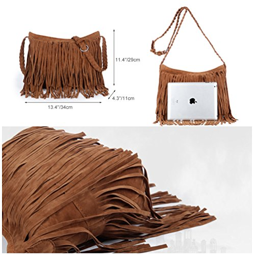 Brown Body Simple Tassels Women Strap Braided Cross Bags Handbag Bag for Leather Shoulder Shoulder Fringed PU Vbiger 1naW0zpa