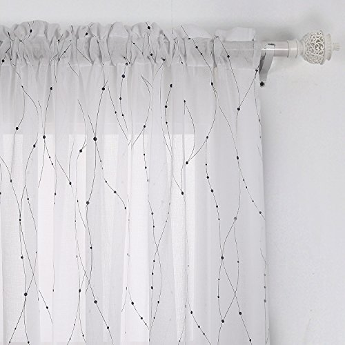 Deconovo Transparent Curtains Wave Line with Dots Linen Look Voile Curtain with Rod Pocket Sheer Window Curtain for French Doors 52×63 Black 1 Panel