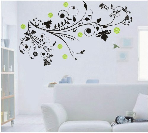 Wallmates Home Decor Vinyl Wall Sticker Floral Vine with Colorful Flower Room Decal Art Mural Wallpaper