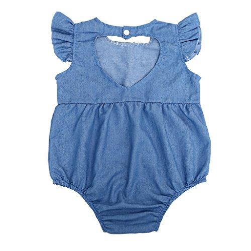 [Peachshop Summer Newborn Baby Girls One-piecesDenim RomperJumpsuitBodysuitOutfits Sunsuit Clothes (Size 70,0-6] (Denim Romper Costume)