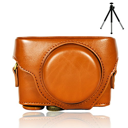 First2savvv XJPT-RX100M4-09 brown full body Precise Fit PU leather digital camera case bag cover with shoulder strap for Sony Cyber-Shot DSC RX100 M4 + mini tripod