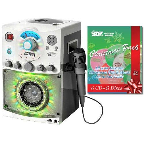 Singing Machine SML-385W Karaoke Machine With Disco Light & Christmas Songs (Top Load Cdg Karaoke Machine)